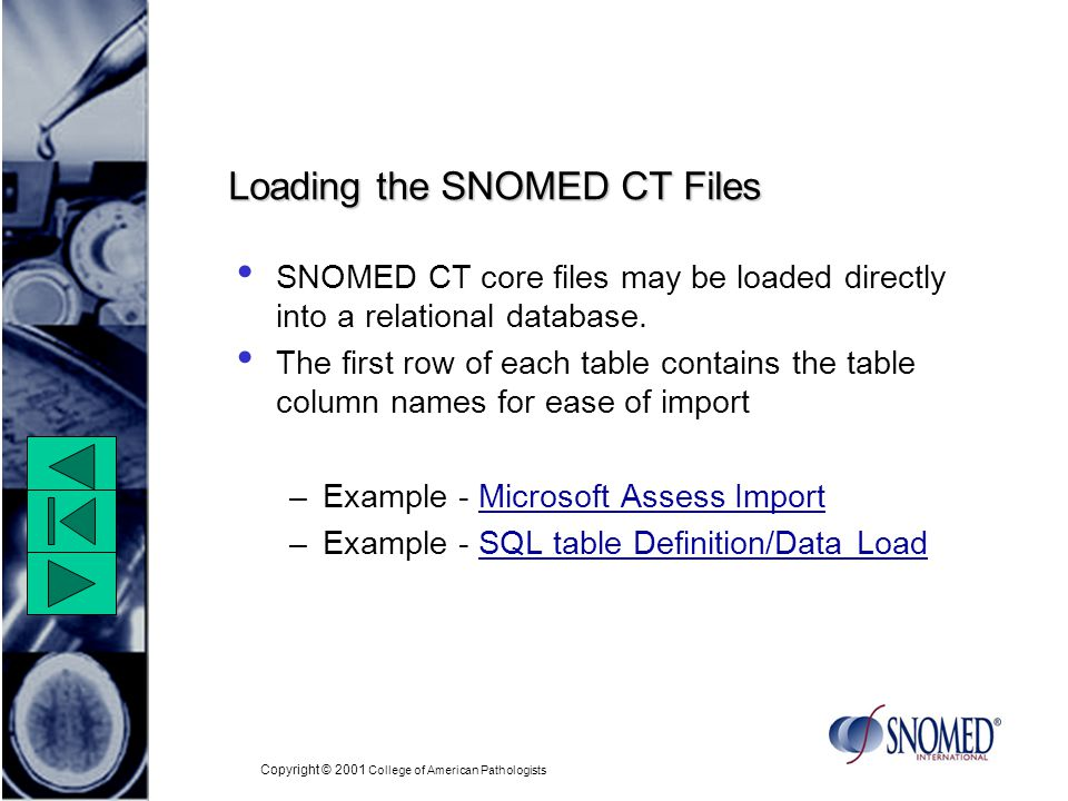 Copyright © 2001 College of American Pathologists Loading the SNOMED CT Files SNOMED CT core files may be loaded directly into a relational database.