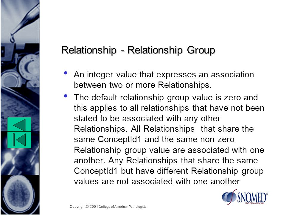 Copyright © 2001 College of American Pathologists Relationship - Relationship Group An integer value that expresses an association between two or more Relationships.