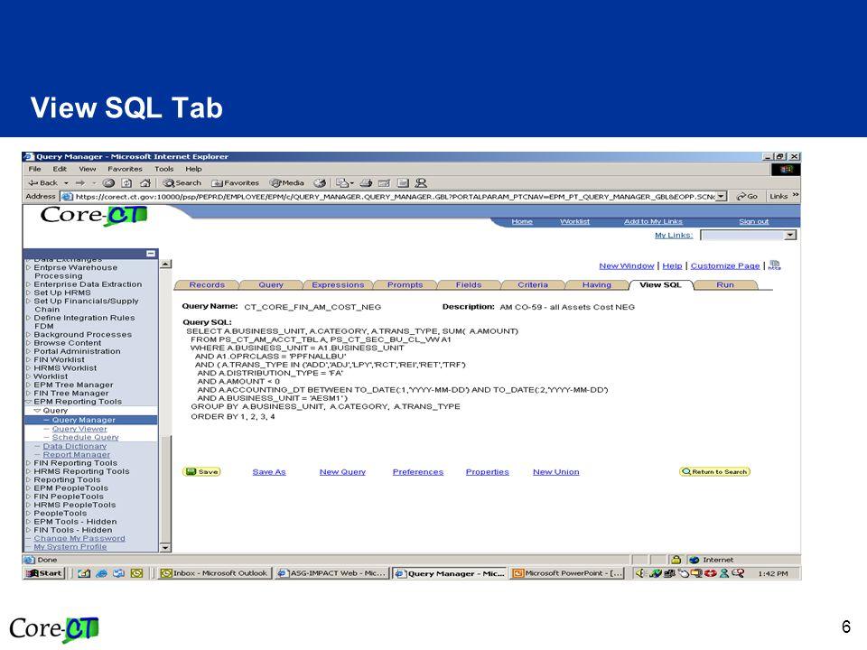 6 View SQL Tab