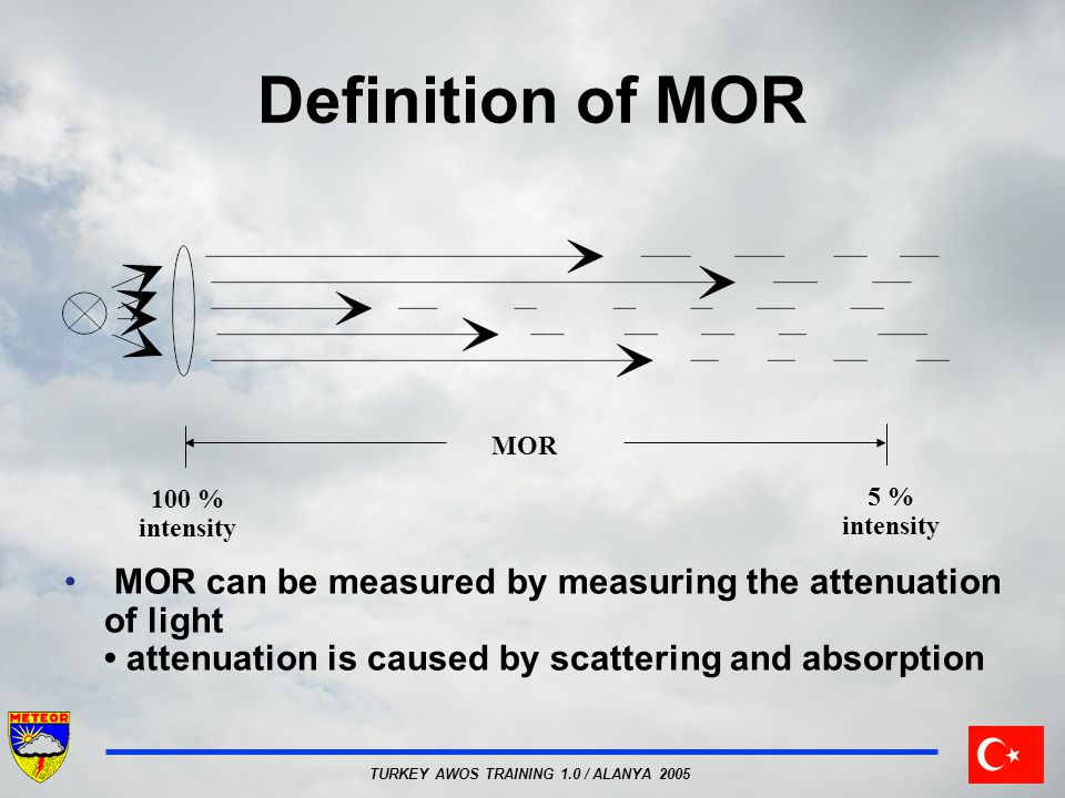 TURKEY AWOS TRAINING 1.0 / ALANYA 2005 Definition of MOR 100 % intensity 5 % intensity MOR MOR can be measured by measuring the attenuation of light a