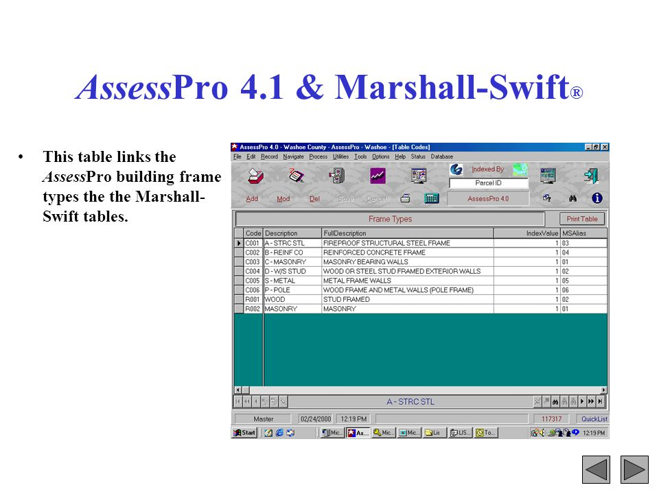 AssessPro 4.1 & Marshall-Swift ® This table links building floor types.