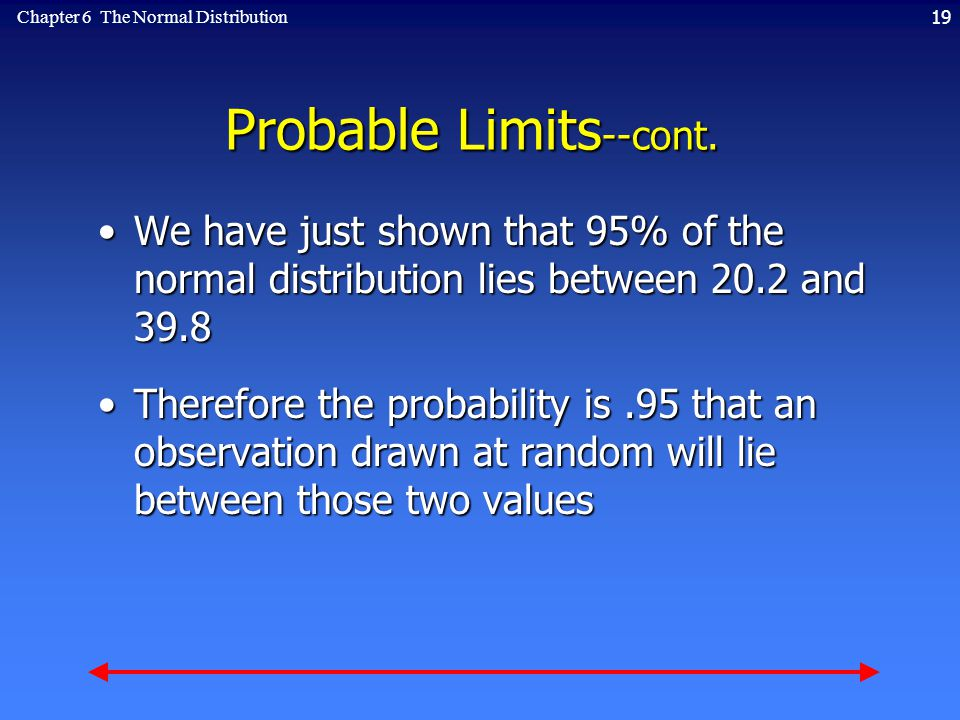 19Chapter 6 The Normal Distribution Probable Limits --cont.