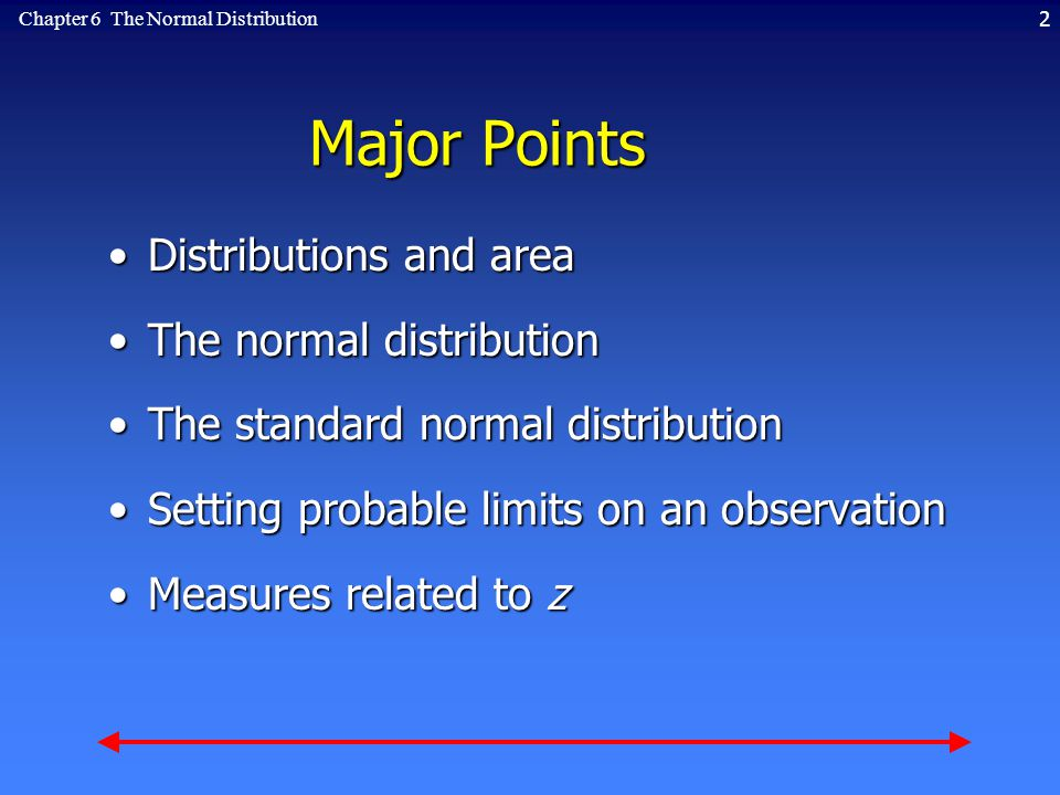 2Chapter 6 The Normal Distribution Major Points Distributions and areaDistributions and area The normal distributionThe normal distribution The standard normal distributionThe standard normal distribution Setting probable limits on an observationSetting probable limits on an observation Measures related to zMeasures related to z