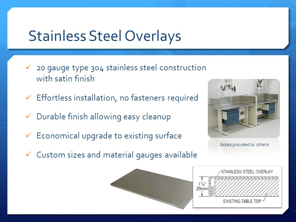 Stainless Steel Overlays 20 gauge type 304 stainless steel construction with satin finish Effortless installation, no fasteners required Durable finish allowing easy cleanup Economical upgrade to existing surface Custom sizes and material gauges available tables provided by others