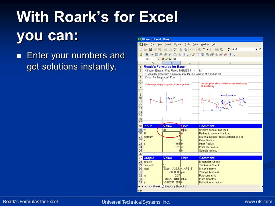 Roarks Formulas for Excel Universal Technical Systems, Inc. www.uts.com With Roarks for Excel you can: Enter your numbers and get solutions instantly.