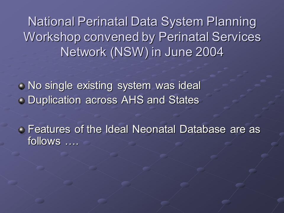 National Perinatal Data System Planning Workshop convened by Perinatal Services Network (NSW) in June 2004 No single existing system was ideal Duplica