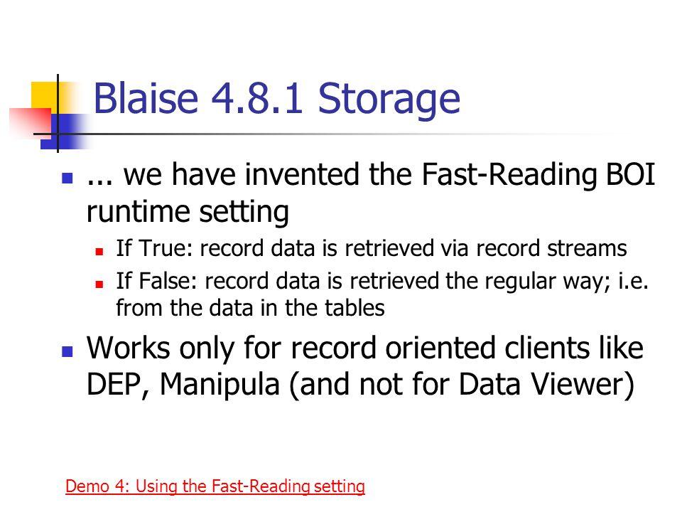 Blaise 4.8.1 Storage...