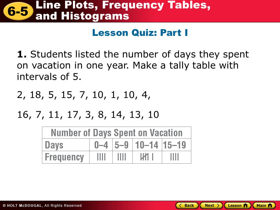 6-5 Line Plots, Frequency Tables, and Histograms Lesson Quiz: Part I 1. Students listed the number of days they spent on vacation in one year. Make a