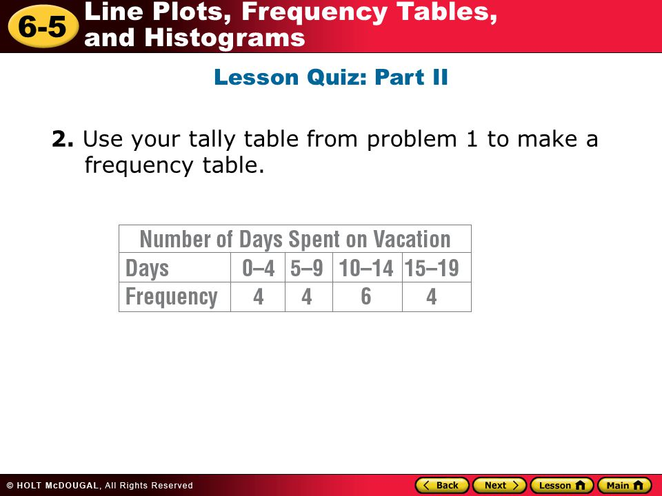 6-5 Line Plots, Frequency Tables, and Histograms Lesson Quiz: Part II 2. Use your tally table from problem 1 to make a frequency table.