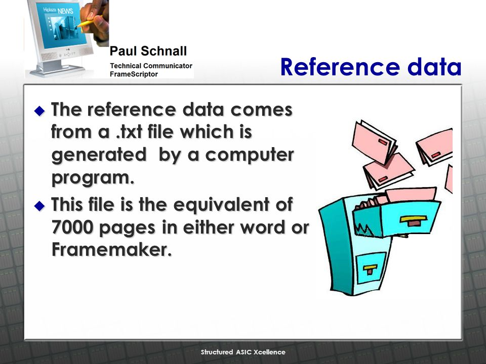 Structured ASIC Xcellence Reference data u The reference data comes from a.txt file which is generated by a computer program.