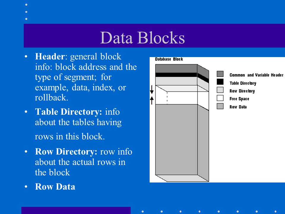 Data Blocks Header: general block info: block address and the type of segment; for example, data, index, or rollback. Table Directory: info about the