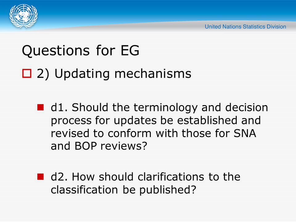 Questions for EG 2) Updating mechanisms d1. Should the terminology and decision process for updates be established and revised to conform with those f