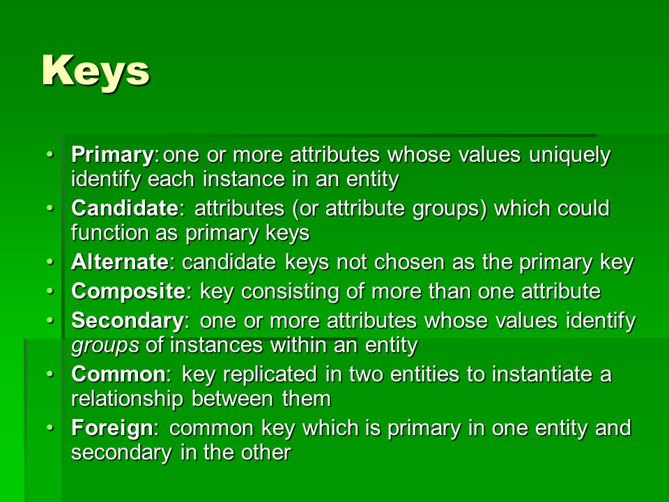 Keys one or more attributes whose values uniquely identify each instance in an entity one or more attributes whose values uniquely identify each instance in an entity attributes (or attribute groups) which could function as primary keys attributes (or attribute groups) which could function as primary keys candidate keys not chosen as the primary key candidate keys not chosen as the primary key key consisting of more than one attribute key consisting of more than one attribute one or more attributes whose values identify groups of instances within an entity one or more attributes whose values identify groups of instances within an entity key replicated in two entities to instantiate a relationship between them key replicated in two entities to instantiate a relationship between them common key which is primary in one entity and secondary in the other common key which is primary in one entity and secondary in the other Primary:Primary: Candidate:Candidate: Alternate:Alternate: Composite:Composite: Secondary:Secondary: Common:Common: Foreign:Foreign: