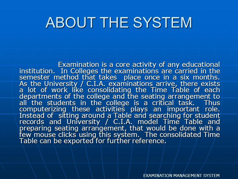 ENTERING SEATING EXAMINATION MANAGEMENT SYSTEM FORM DESIGN
