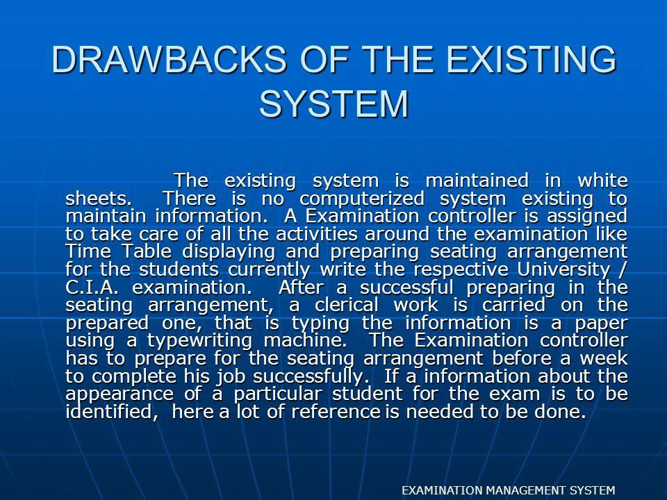 FURNISHING SEATING EXAMINATION MANAGEMENT SYSTEM FORM DESIGN