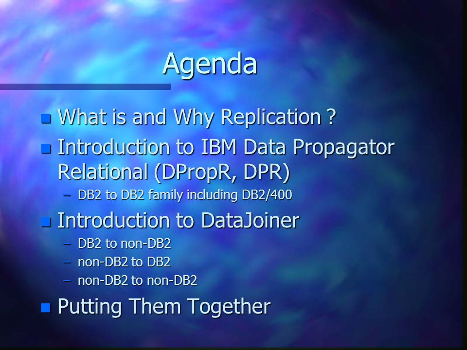 Agenda n What is and Why Replication .