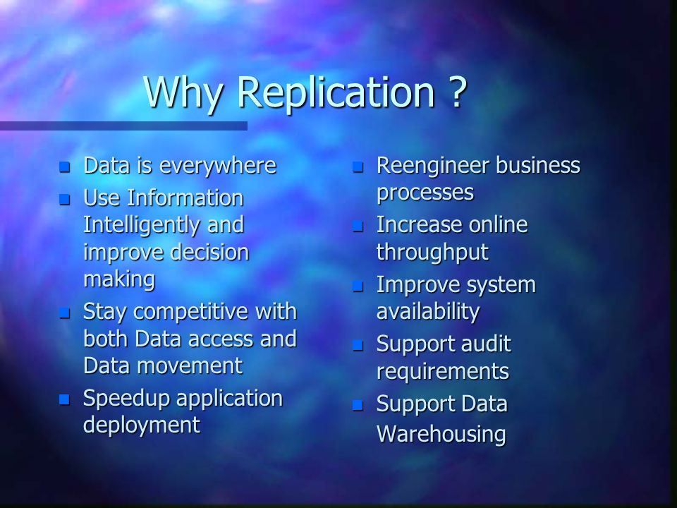 Why Replication .