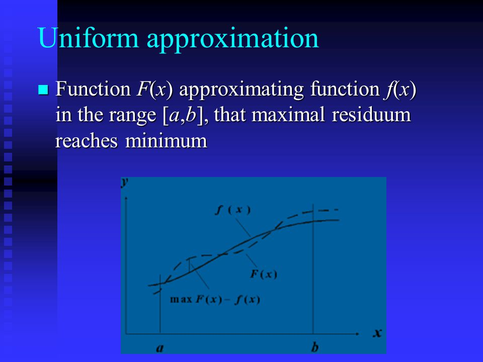 Uniform approximation Function F(x) approximating function f(x) in the range [a,b], that maximal residuum reaches minimum Function F(x) approximating function f(x) in the range [a,b], that maximal residuum reaches minimum