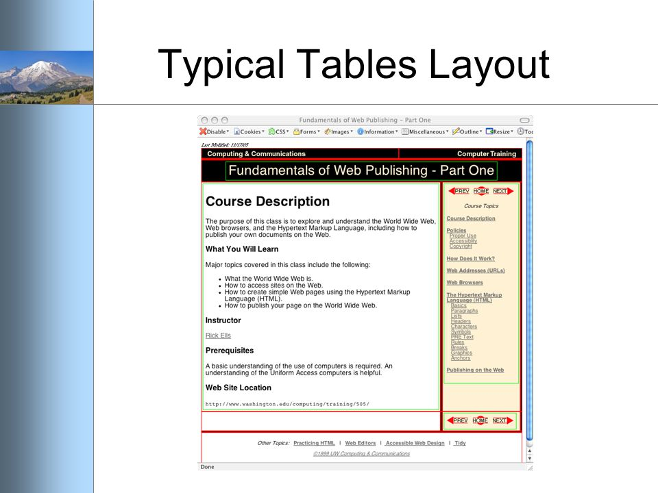 Typical Tables Layout