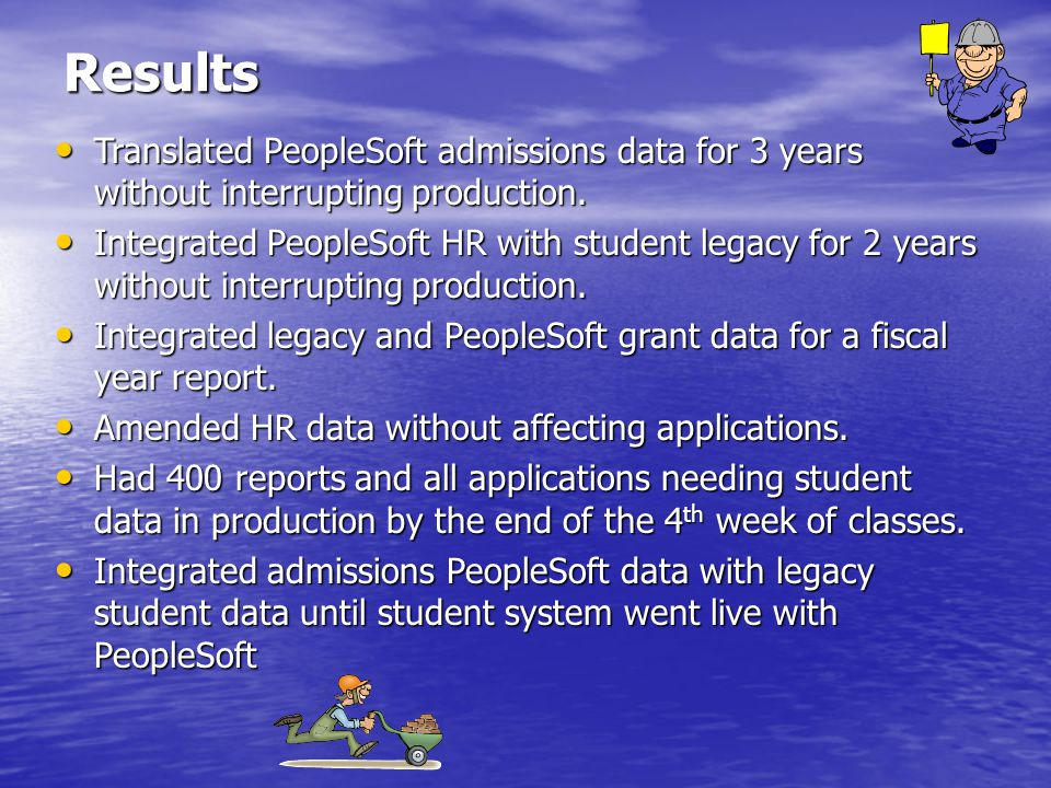 Results Translated PeopleSoft admissions data for 3 years without interrupting production.