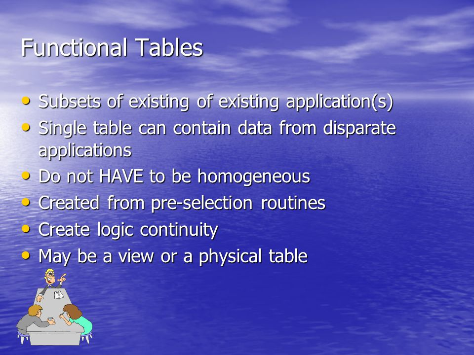 Functional Tables Subsets of existing of existing application(s) Subsets of existing of existing application(s) Single table can contain data from disparate applications Single table can contain data from disparate applications Do not HAVE to be homogeneous Do not HAVE to be homogeneous Created from pre-selection routines Created from pre-selection routines Create logic continuity Create logic continuity May be a view or a physical table May be a view or a physical table