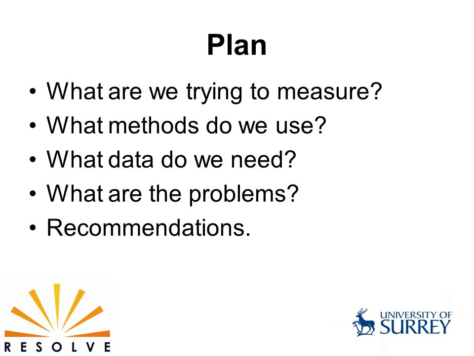 Plan What are we trying to measure. What methods do we use.