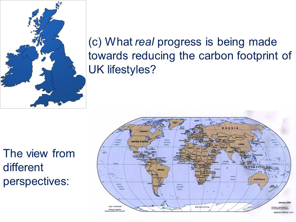 (c) What real progress is being made towards reducing the carbon footprint of UK lifestyles.