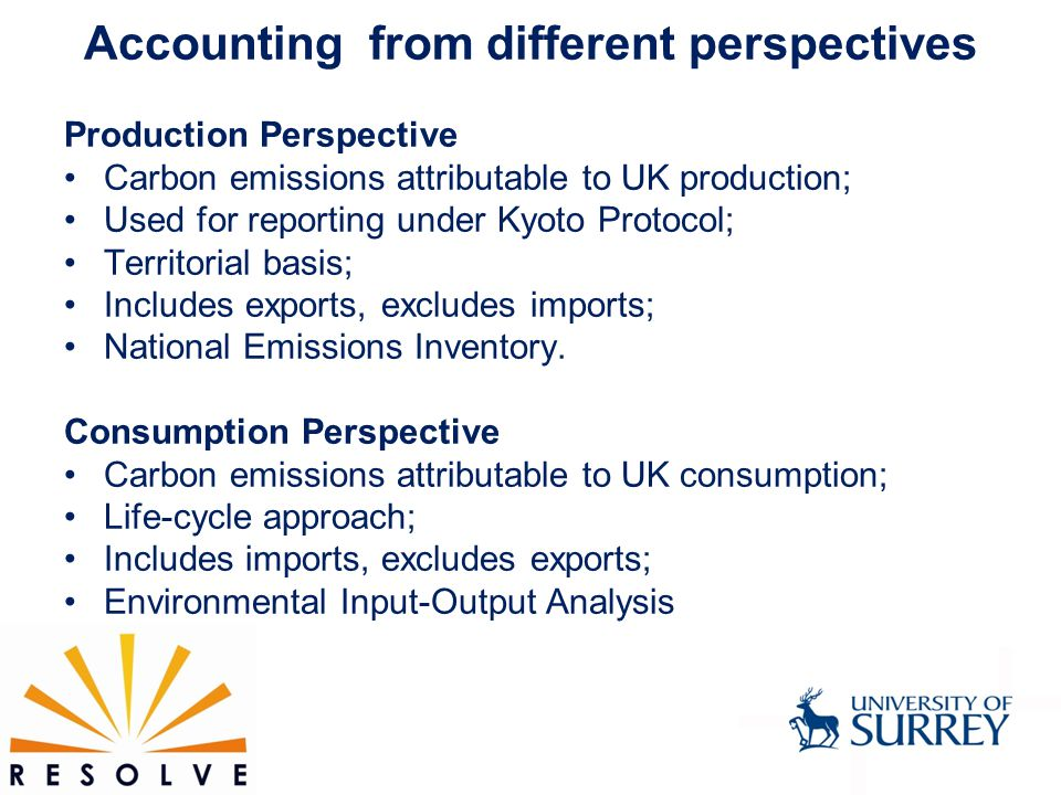 Accounting from different perspectives Production Perspective Carbon emissions attributable to UK production; Used for reporting under Kyoto Protocol; Territorial basis; Includes exports, excludes imports; National Emissions Inventory.