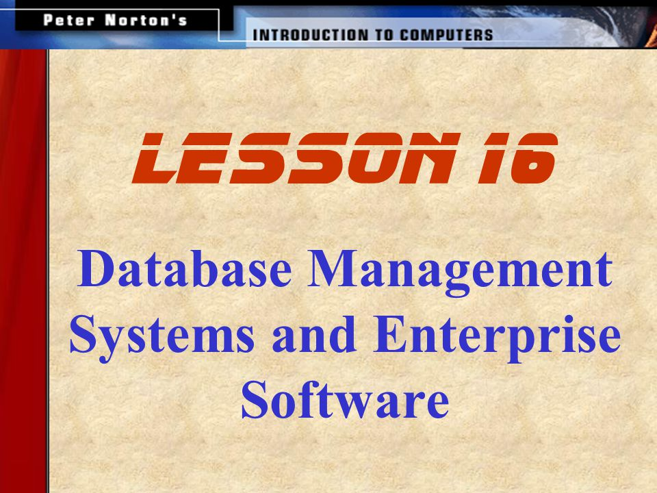 Database Management Systems and Enterprise Software lesson 16