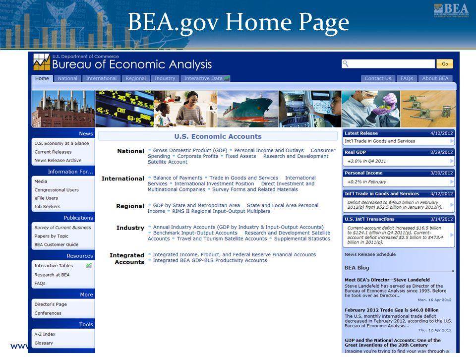 www.bea.gov 10 BEA.gov Home Page
