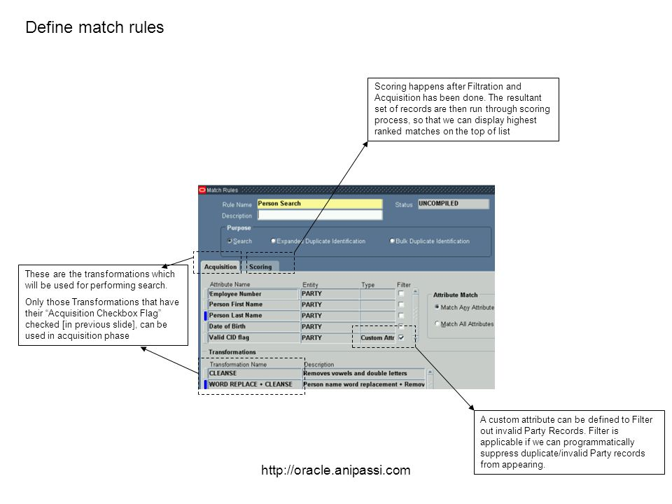 http://oracle.anipassi.com Define match rules These are the transformations which will be used for performing search. Only those Transformations that