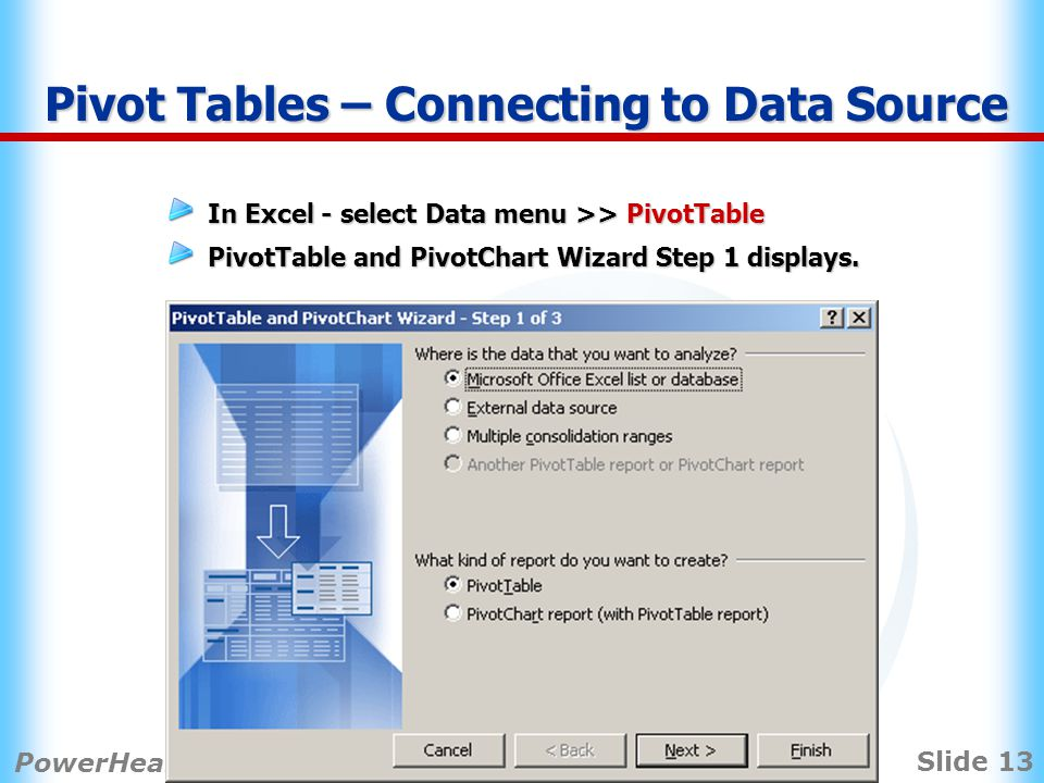 Slide 13 PowerHealth Solutions 2008 PPM User Conference Pivot Tables – Connecting to Data Source In Excel - select Data menu >> PivotTable PivotTable and PivotChart Wizard Step 1 displays.
