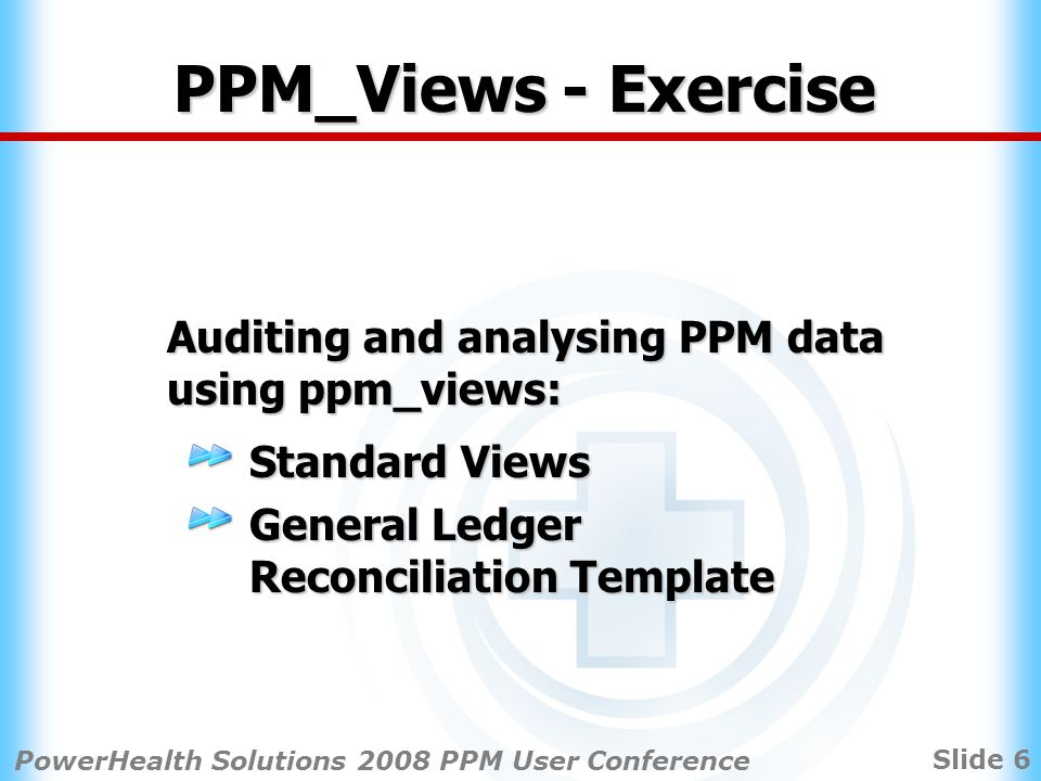 Slide 6 PowerHealth Solutions 2008 PPM User Conference PPM_Views - Exercise Auditing and analysing PPM data using ppm_views: Standard Views General Ledger Reconciliation Template