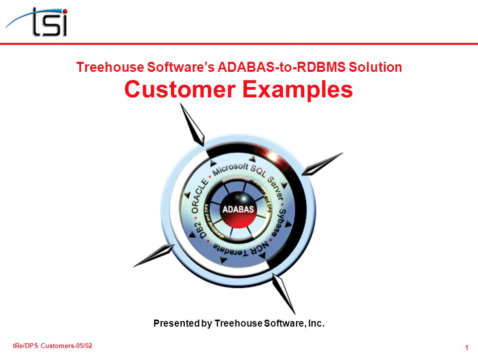 1 tRe/DPS Customers-05/02 Treehouse Softwares ADABAS-to-RDBMS Solution Customer Examples Presented by Treehouse Software, Inc.