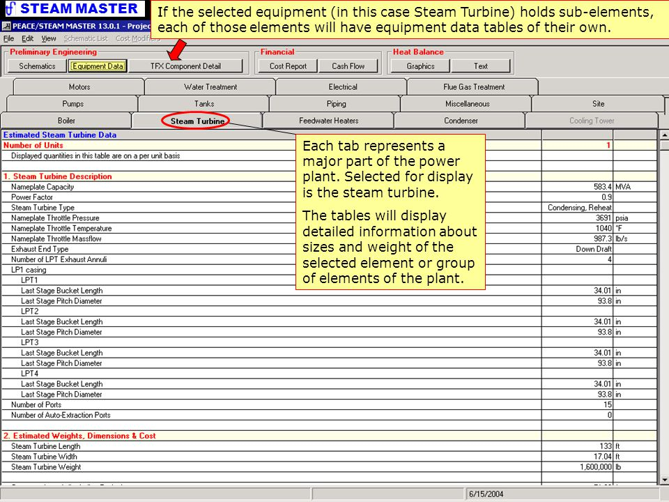 STEAM MASTER PEACE Output – Equipment Data Each tab represents a major part of the power plant.