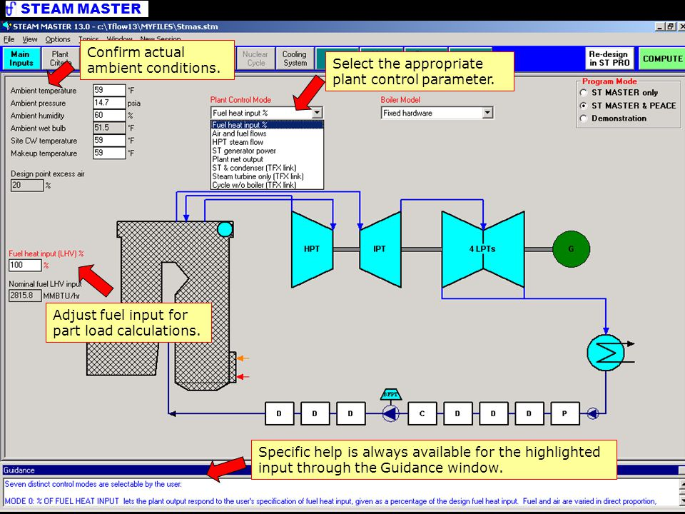 STEAM MASTER Editing Inputs Adjust fuel input for part load calculations.