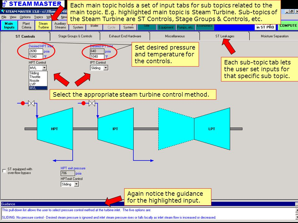 STEAM MASTER Detailed Inputs Select the appropriate steam turbine control method.
