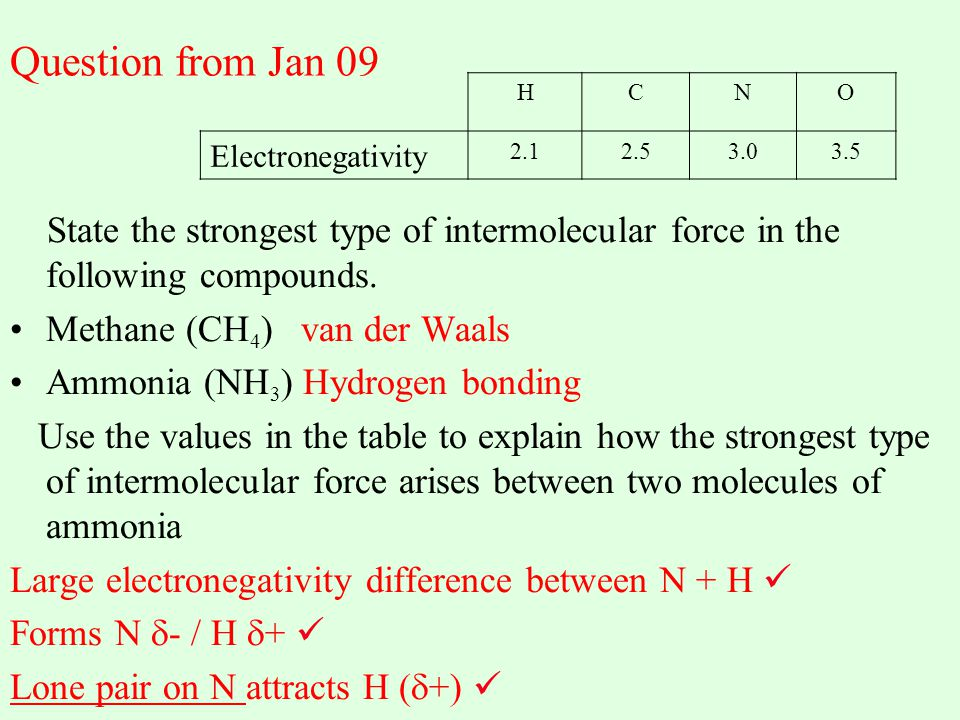 Question from Jan 09 State the strongest type of intermolecular force in the following compounds. Methane (CH 4 ) van der Waals Ammonia (NH 3 ) Hydrog