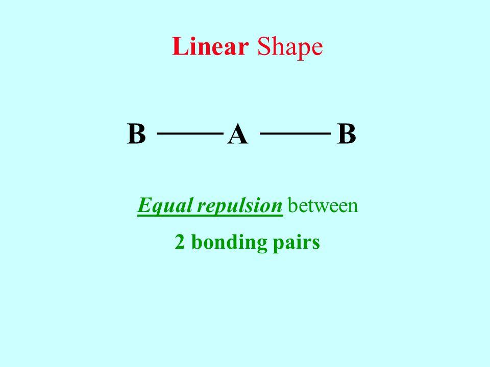 B A B Equal repulsion between 2 bonding pairs Linear Shape