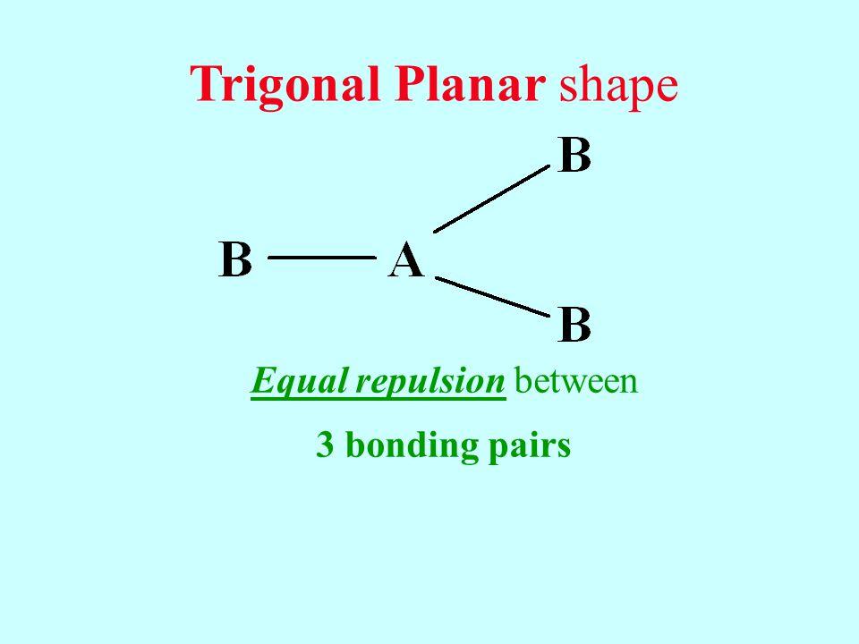 Equal repulsion between 3 bonding pairs Trigonal Planar shape