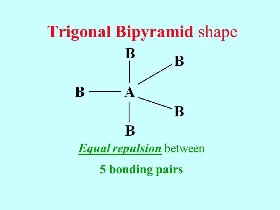 Trigonal Bipyramid shape Equal repulsion between 5 bonding pairs