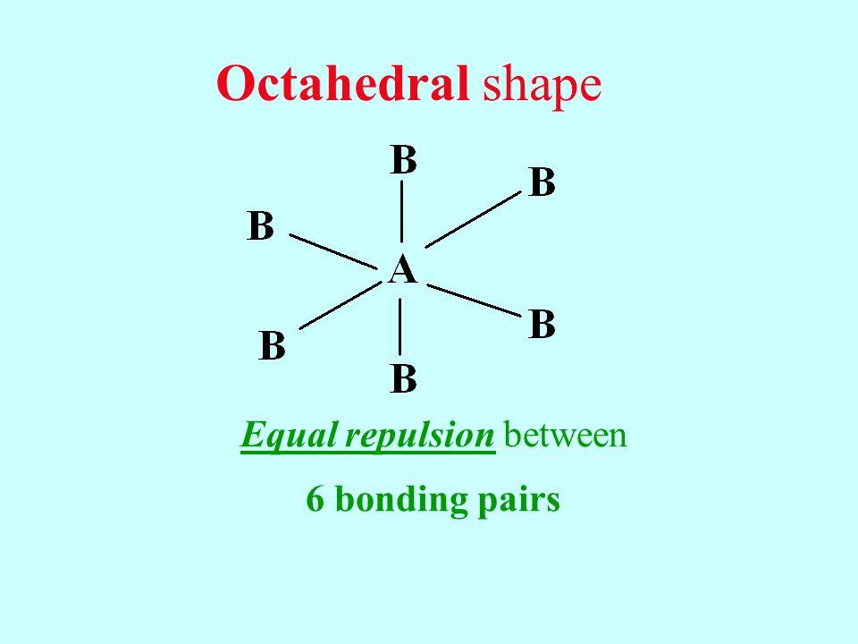 Octahedral shape Equal repulsion between 6 bonding pairs