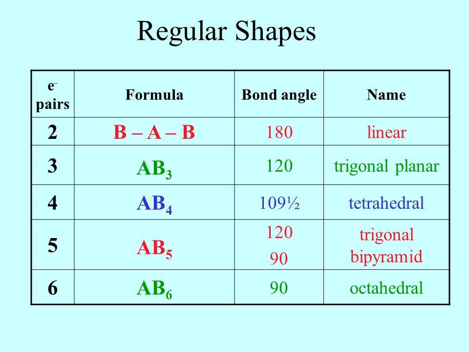 Regular Shapes e - pairs FormulaBond angleName 2B – A – B 180linear 3 AB 3 120trigonal planar 4AB 4 109½tetrahedral 5 AB 5 120 90 trigonal bipyramid 6