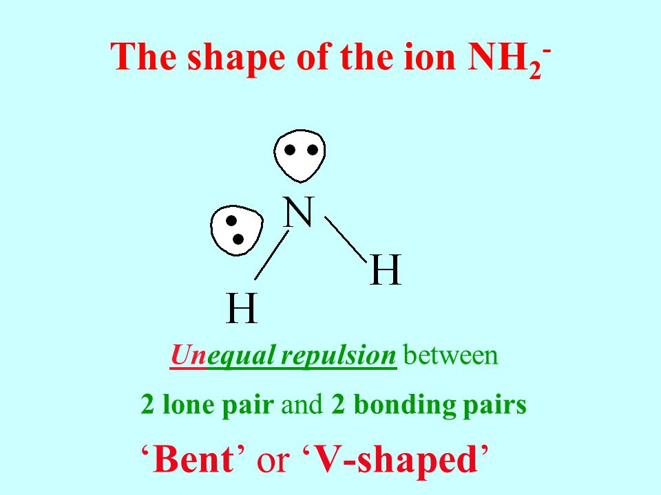 The shape of the ion NH 2 - Bent or V-shaped Unequal repulsion between 2 lone pair and 2 bonding pairs