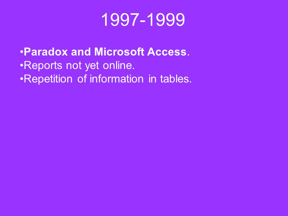 1997-1999 Paradox and Microsoft Access.Reports not yet online.