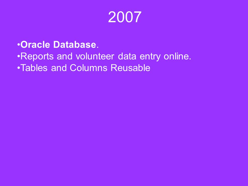 2007 Oracle Database. Reports and volunteer data entry online. Tables and Columns Reusable