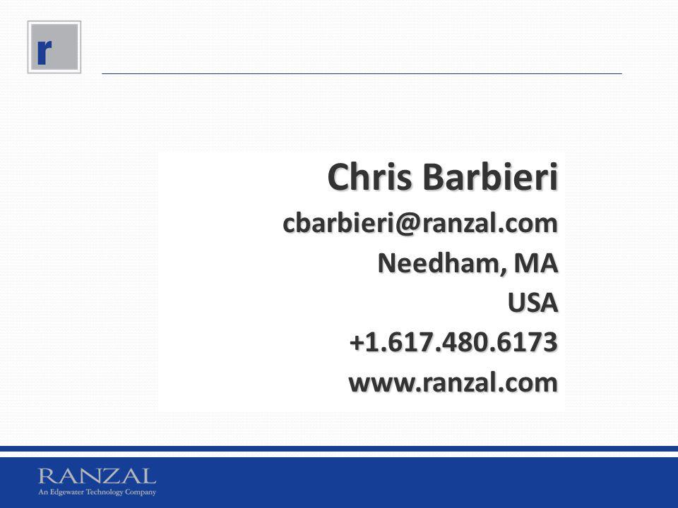 Chris Barbieri cbarbieri@ranzal.com Needham, MA USA+1.617.480.6173www.ranzal.com