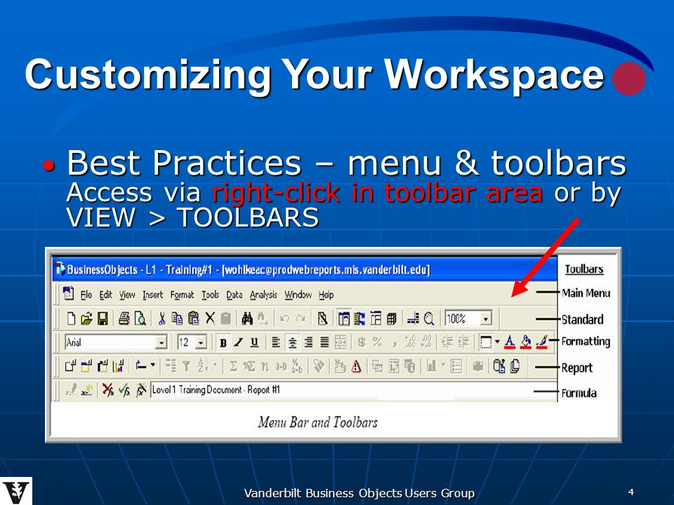 Vanderbilt Business Objects Users Group 15 When your report contains several pages, there are a number of options in Business Objects to manage the page layout so that your report reads fluently and coherently and you obtain good printed copy.