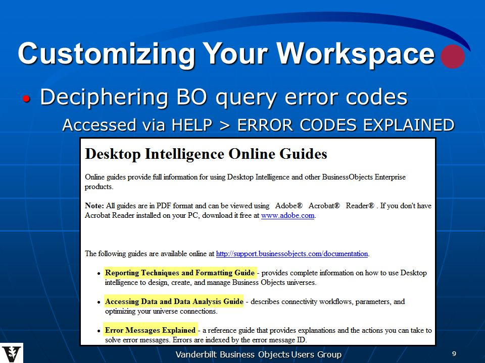 Vanderbilt Business Objects Users Group 20 Report Layout Running Headers & Footers