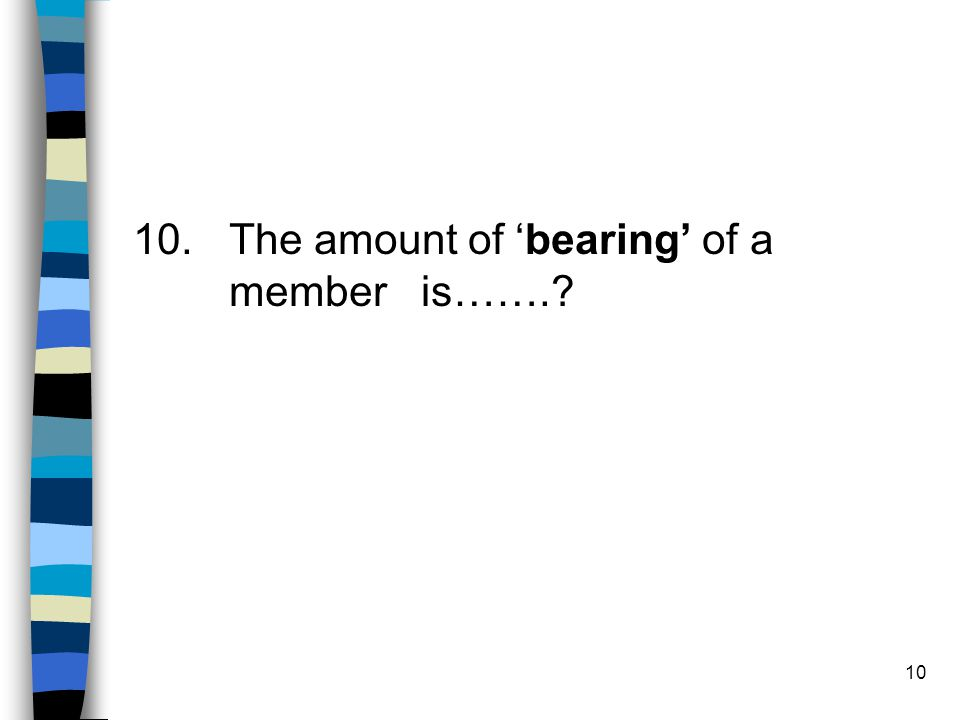 10 10. The amount of bearing of a member is…….?